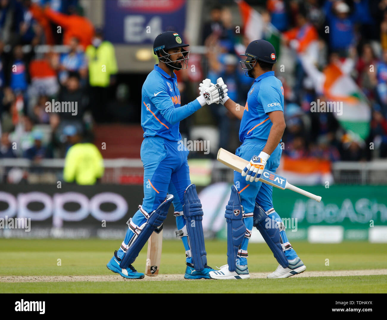 Old Trafford, Manchester, UK. 16th June, 2019. ICC World Cup Cricket, India versus Pakistan; KL Rahul of India brings up his half century and is congratulated by Rohit Sharma Credit: Action Plus Sports/Alamy Live News - Stock Image