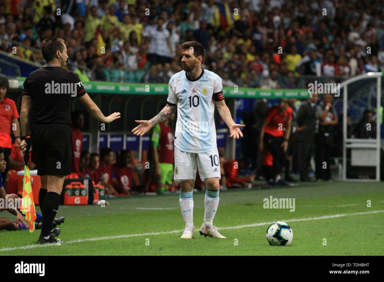 Salvador, Brazil. 15th June, 2019. Messi during match between Argentina and Colombia, game 03, valid for the group phase of Copa América 2019, held this Saturday, 15, at the Arena Fonte Nova in Salvador, BA. Credit: Mauro Akiin Nassor/FotoArena/Alamy Live News - Stock Image