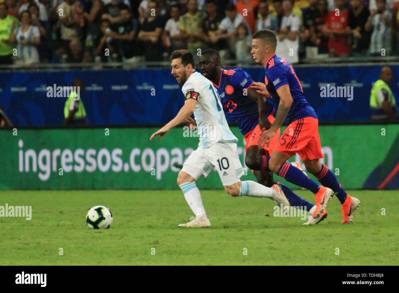 Salvador, Brazil. 15th June, 2019. Messi during match between Argentina and Colombia, game 03, valid for the group phase of Copa América 2019, held this Saturday, 15, at the Arena Fonte Nova in Salvador, BA. Credit: Mauro Akiin Nassor/FotoArena/Alamy Live News Stock Photo