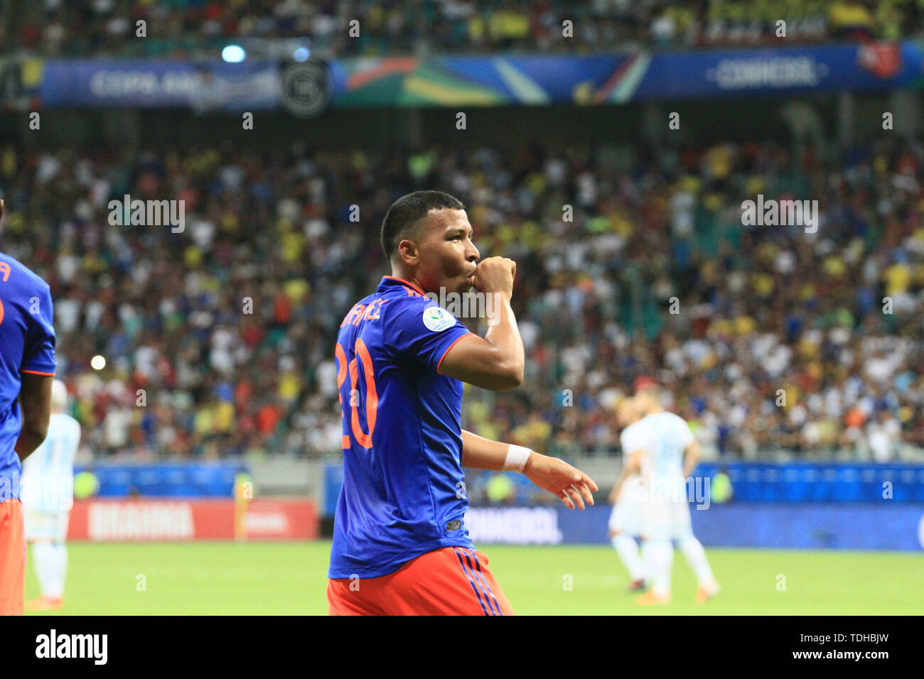 Salvador, Brazil. 15th June, 2019. Roger Martínez celebrates after scoring the first goal of the game, during a match between Argentina and Colombia, game 03, valid for the group stage of the Copa América 2019, held this Saturday, 15, at the Arena Fonte Nova in Salvador, BA. Credit: Mauro Akiin Nassor/FotoArena/Alamy Live News - Stock Image