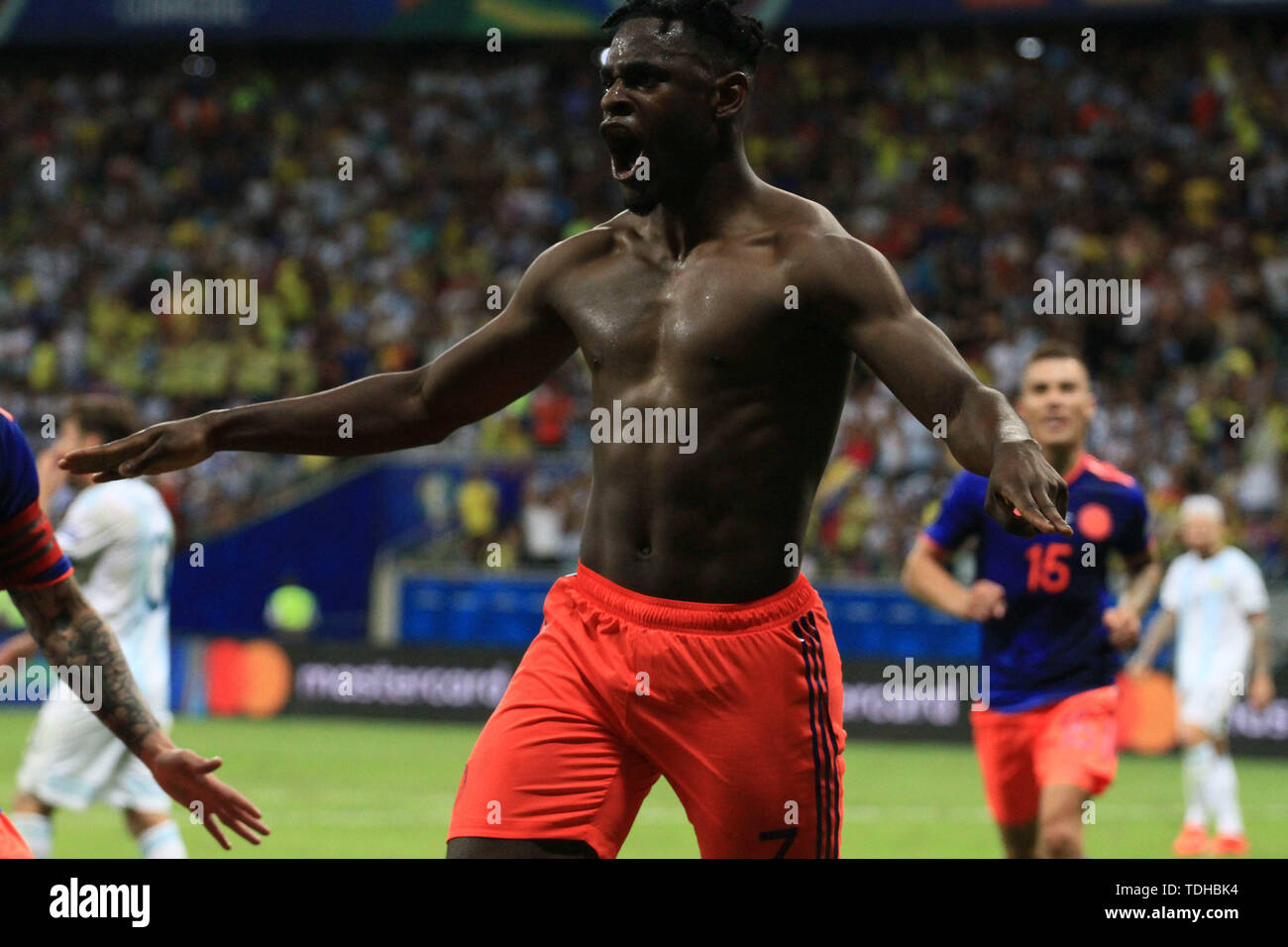 Salvador, Brazil. 15th June, 2019. Duván Zapata celebrates after scoring the second goal of Colombia, during match between Argentina and Colombia, game 03, valid for the group phase of Copa America 2019, held this Saturday, 15, at the Arena Fonte Nova in Salvador, BA. Credit: Mauro Akiin Nassor/FotoArena/Alamy Live News - Stock Image