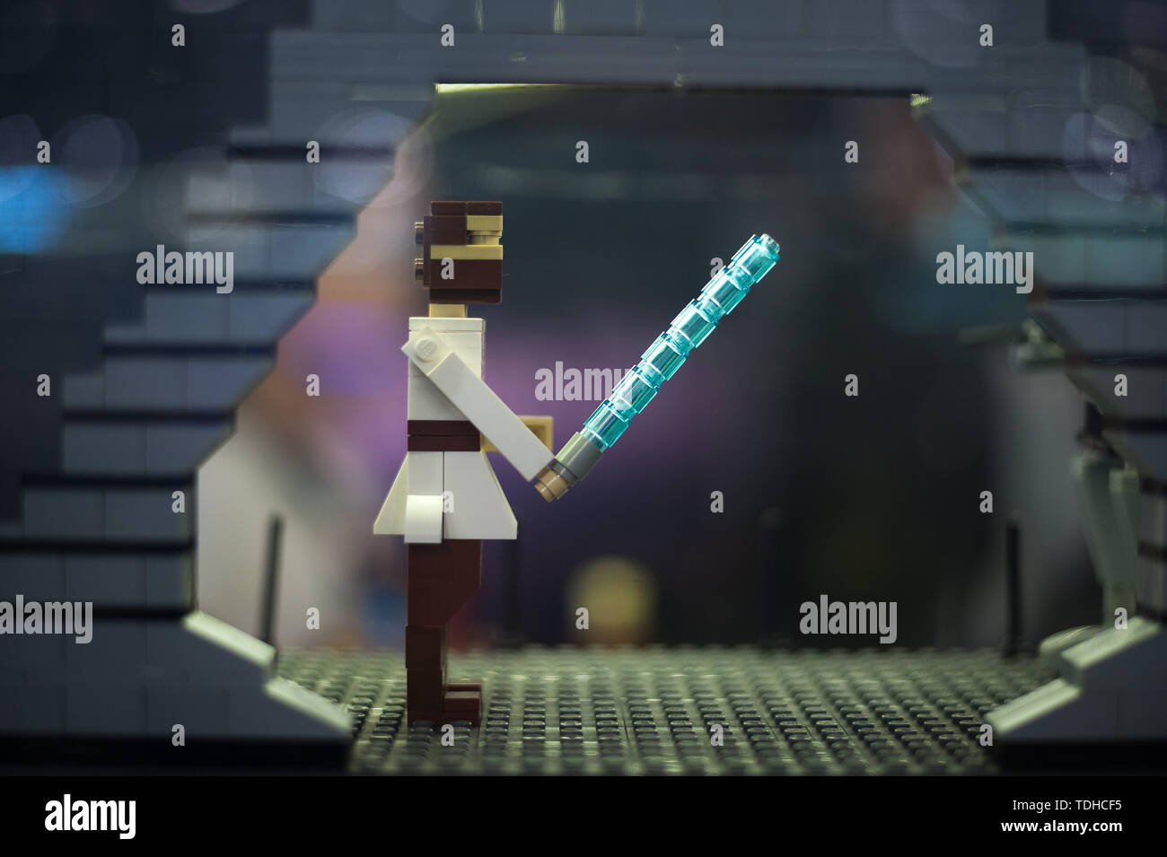 Malaga, Spain. 16th June, 2019. A mockup of a character of the film Star Wars displayed inside a glass cabinet during the exhibition. The LEGO exhibition is a temporary exhibition, the most biggest of Europe about figures of LEGO, showing different mockups mounted with more than 5 million of LEGO pieces to large scale such as Titanic ship, replicas of basketball players, the human body, characters of the film Star Wars, MARVEL and others. Credit: SOPA Images Limited/Alamy Live News Stock Photo
