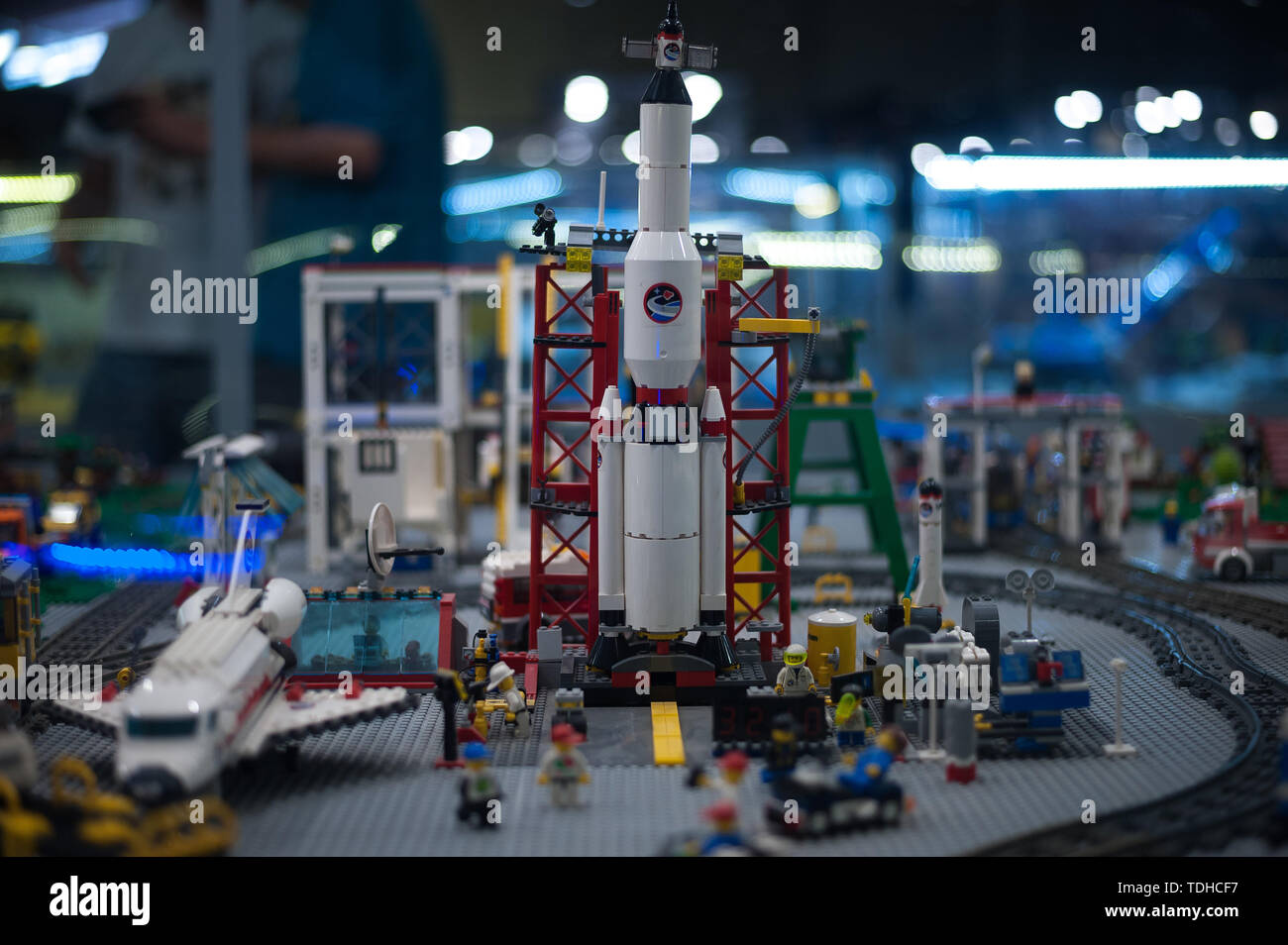 Malaga, Spain. 16th June, 2019. A mockup of a spacial station displayed inside a glass cabinet during the exhibition. The LEGO exhibition is a temporary exhibition, the most biggest of Europe about figures of LEGO, showing different mockups mounted with more than 5 million of LEGO pieces to large scale such as Titanic ship, replicas of basketball players, the human body, characters of the film Star Wars, MARVEL and others. Credit: SOPA Images Limited/Alamy Live News Stock Photo