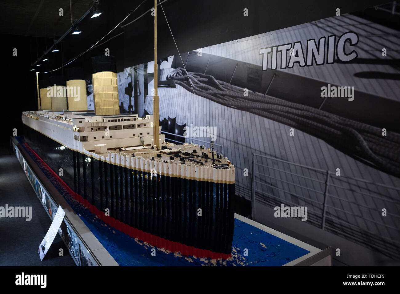 Malaga, Spain. 16th June, 2019. A large mockup of 'Titanic' ship displayed inside a glass cabinet during the exhibition. The LEGO exhibition is a temporary exhibition, the most biggest of Europe about figures of LEGO, showing different mockups mounted with more than 5 million of LEGO pieces to large scale such as Titanic ship, replicas of basketball players, the human body, characters of the film Star Wars, MARVEL and others. Credit: SOPA Images Limited/Alamy Live News Stock Photo