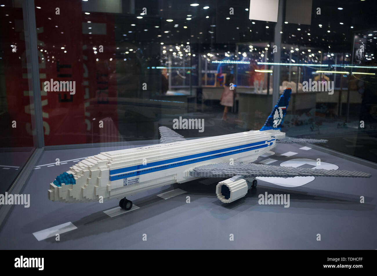 Malaga, Spain. 16th June, 2019. A mockups of a plane displayed inside a glass cabinet during the exhibition. The LEGO exhibition is a temporary exhibition, the most biggest of Europe about figures of LEGO, showing different mockups mounted with more than 5 million of LEGO pieces to large scale such as Titanic ship, replicas of basketball players, the human body, characters of the film Star Wars, MARVEL and others. Credit: SOPA Images Limited/Alamy Live News Stock Photo