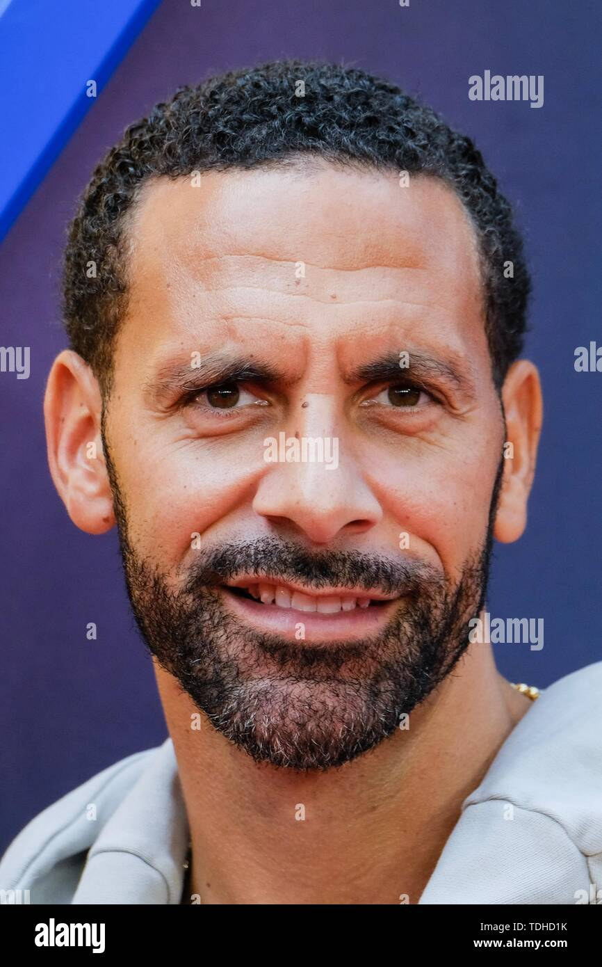 London, UK. 16th June 2019. Rio Ferdinand poses on the red carpet for the European premiere of Toy Story 4 held at the Odeon Luxe, Leicester Square, London on Sunday, Jun. 16, 2019 . Credit: Julie Edwards/Alamy Live News - Stock Image