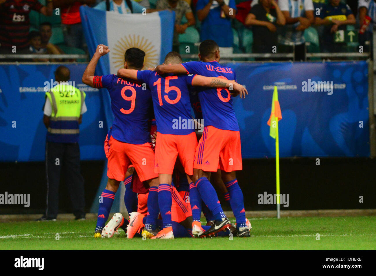 15th June 2019, Arena Fonte Nova, Salvador, Bahia, Brazil; Copa America International Football tournament, Argentina versus Colombia;  Colombia team celebrate the goal from Roger Martínez for 2-0 - Stock Image