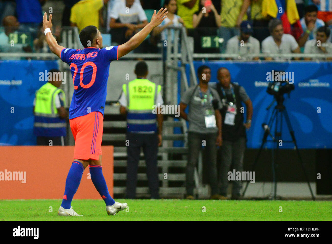 15th June 2019, Arena Fonte Nova, Salvador, Bahia, Brazil; Copa America International Football tournament, Argentina versus Colombia;  Roger Martínez of Colômbia celebrates his goal for 2-0 - Stock Image