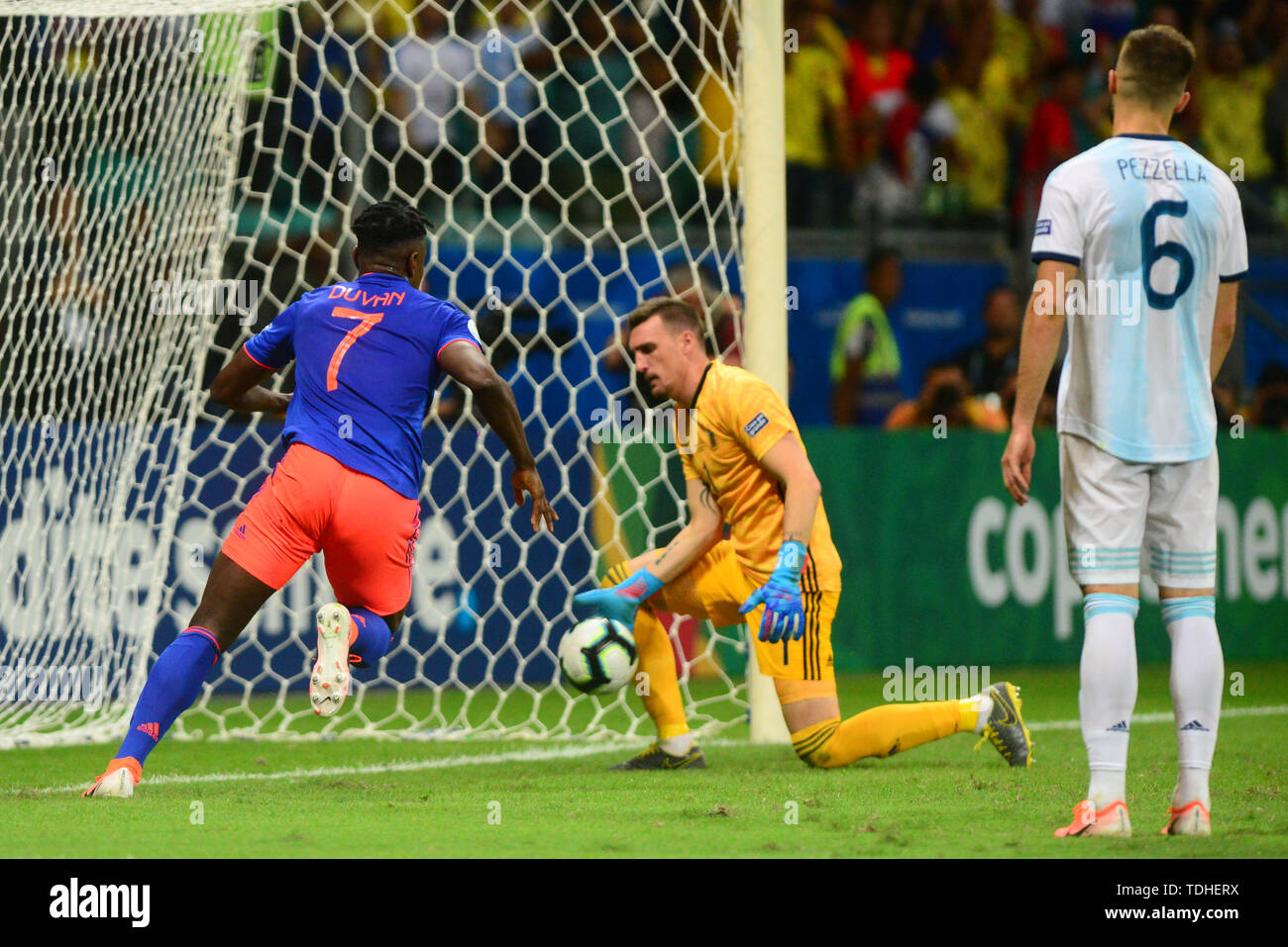 15th June 2019, Arena Fonte Nova, Salvador, Bahia, Brazil; Copa America International Football tournament, Argentina versus Colombia;  Duván Zapata of Colombia celebrates his goal for 1-0 - Stock Image