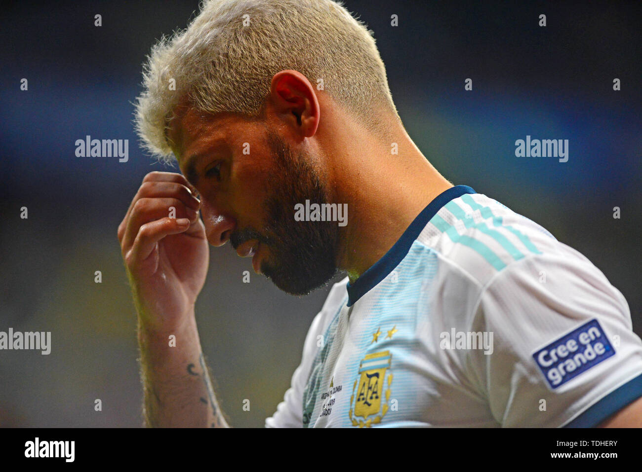 15th June 2019, Arena Fonte Nova, Salvador, Bahia, Brazil; Copa America International Football tournament, Argentina versus Colombia;  Sergio Agüero of Argentina shows his disappointment as his team goes behind - Stock Image