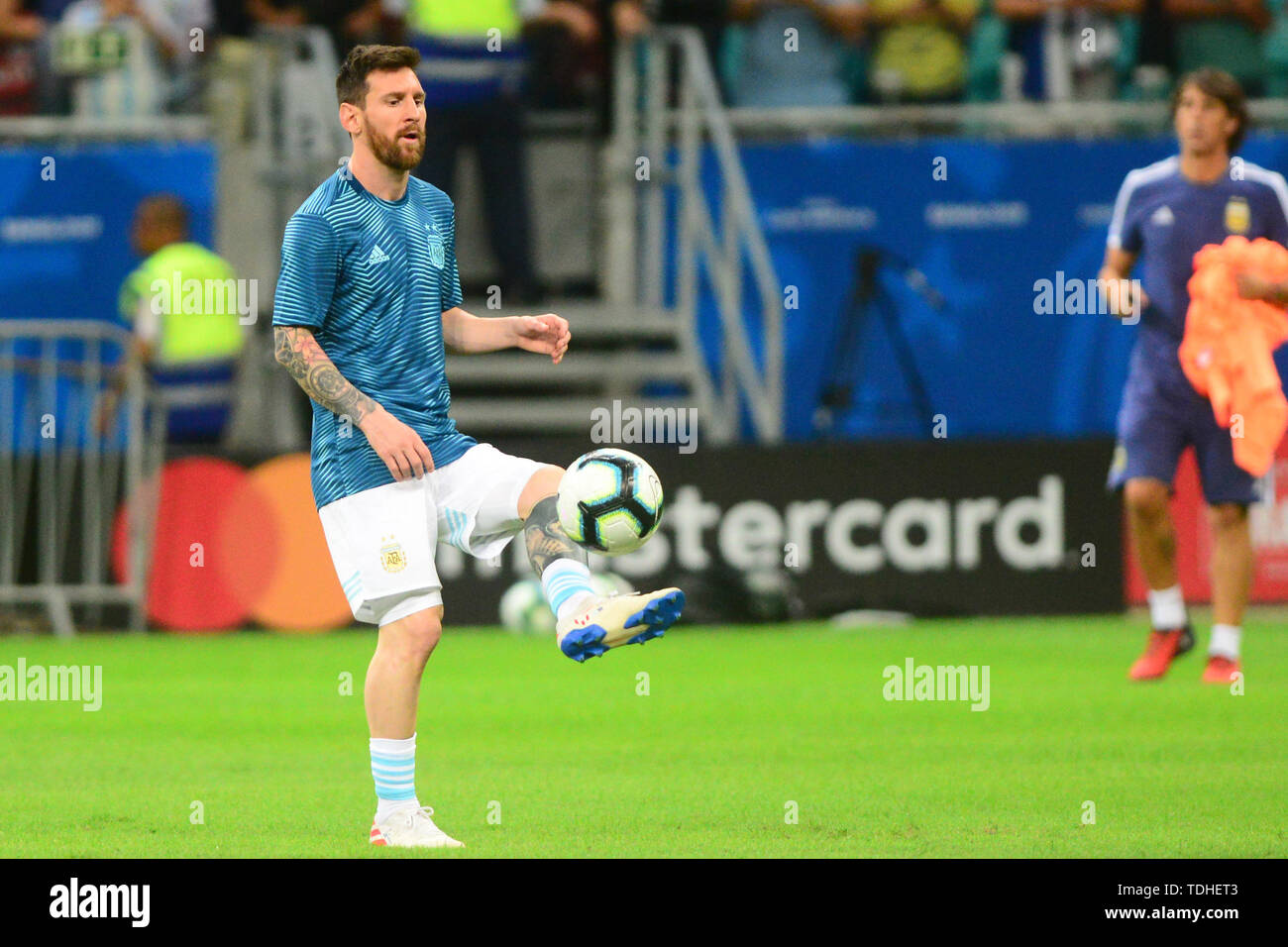 15th June 2019, Arena Fonte Nova, Salvador, Bahia, Brazil; Copa America International Football tournament, Argentina versus Colombia;  Lionel Messi of Argentina warms up - Stock Image