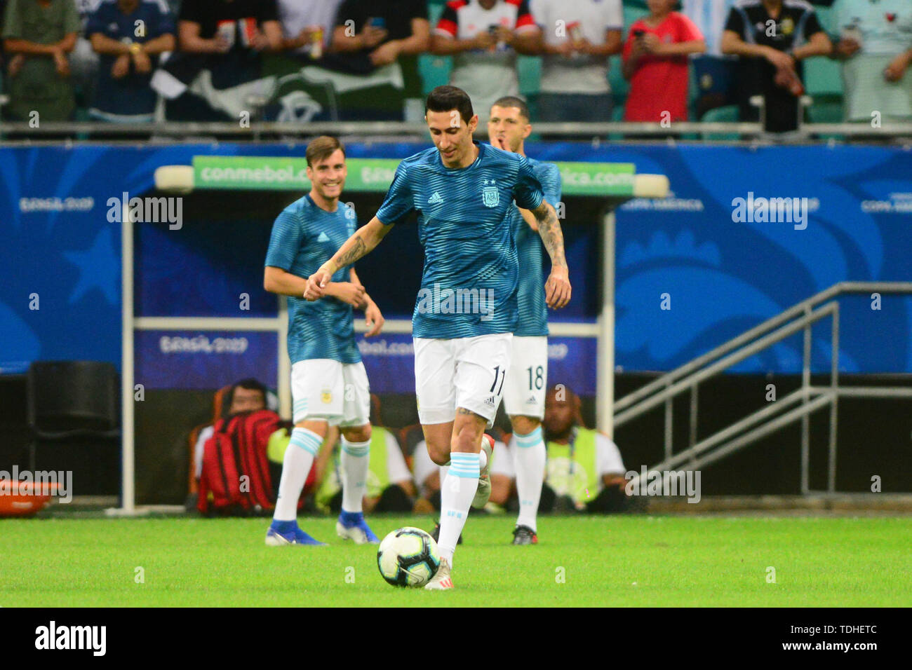 15th June 2019, Arena Fonte Nova, Salvador, Bahia, Brazil; Copa America International Football tournament, Argentina versus Colombia;  Ángel Di María of Argentina warms up - Stock Image