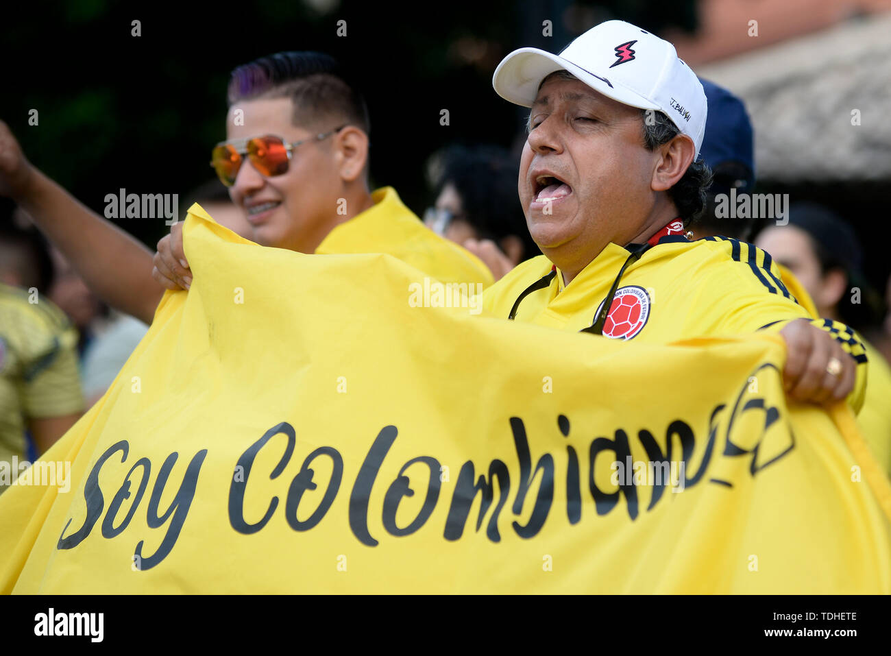 15th June 2019, Arena Fonte Nova, Salvador, Bahia, Brazil; Copa America International Football tournament, Argentina versus Colombia;  Fans of Colombia Stock Photo