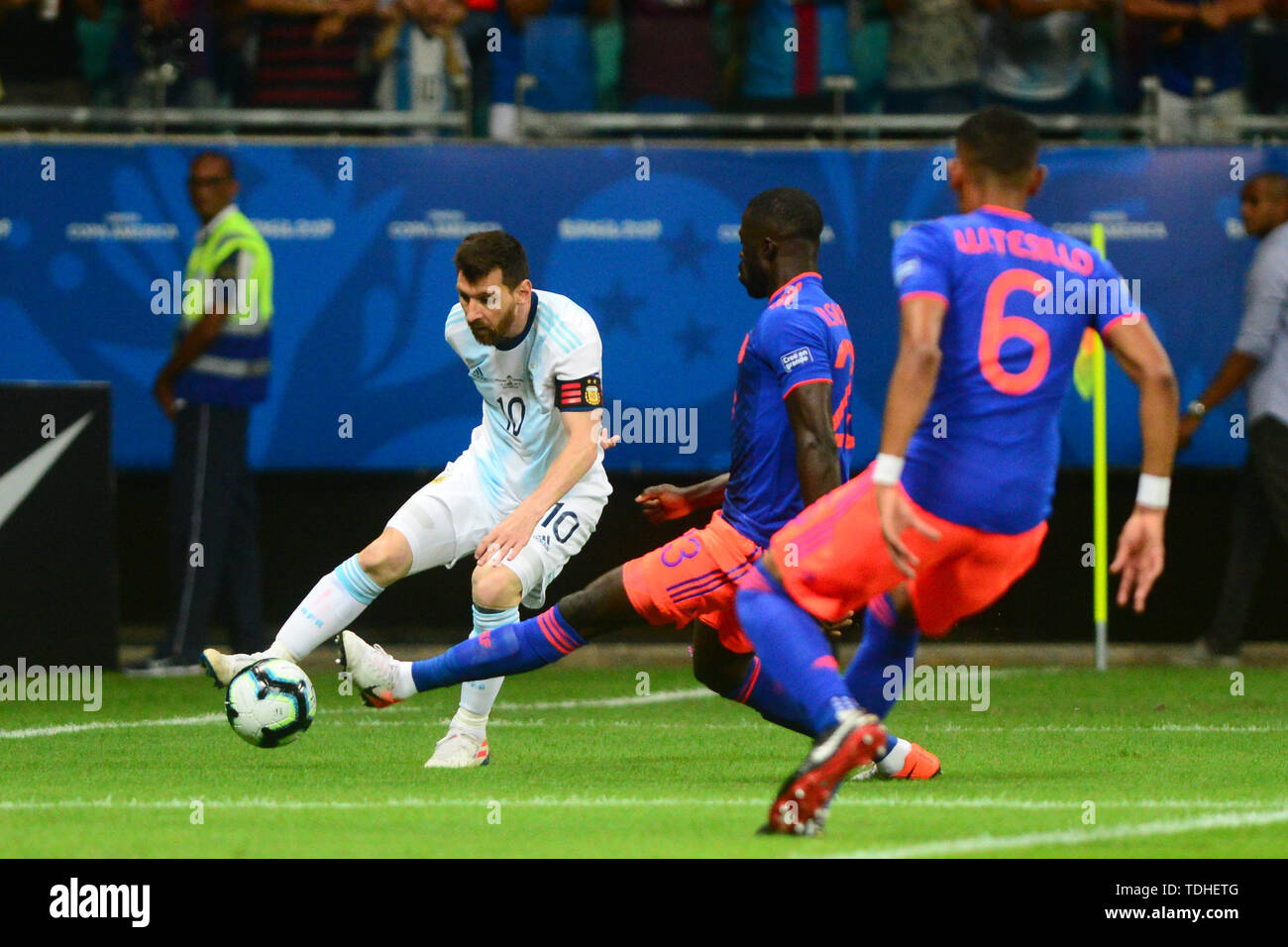 15th June 2019, Arena Fonte Nova, Salvador, Bahia, Brazil; Copa America International Football tournament, Argentina versus Colombia;  Lionel Messi of Argentina crosses into the penalty area - Stock Image
