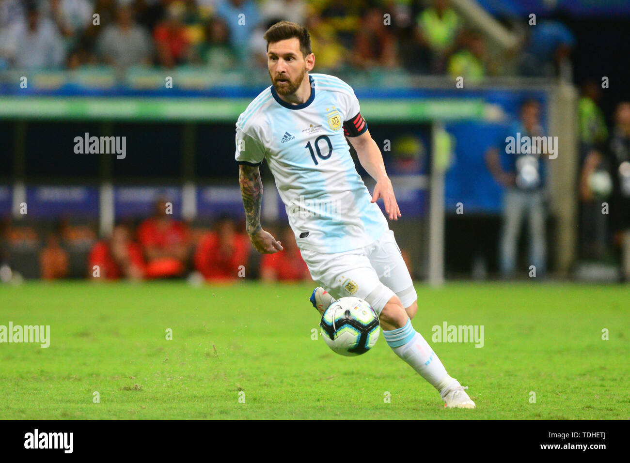 15th June 2019, Arena Fonte Nova, Salvador, Bahia, Brazil; Copa America International Football tournament, Argentina versus Colombia;  Lionel Messi of Argentina Stock Photo