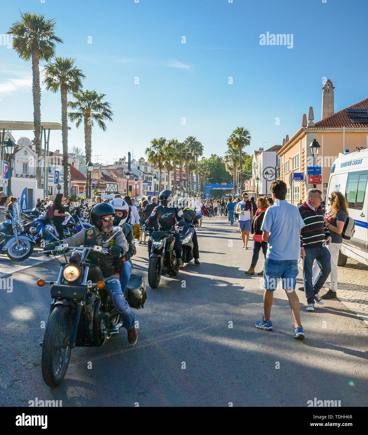 Cascais, Portugal - June 16, 2019: Cascais hosts the 28th Annual European Harley-Davidson H.O.G. Rally from 13-16 June, 2019. The meet up is expected  - Stock Image