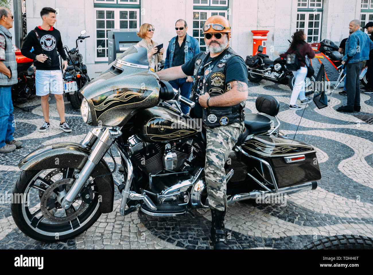 Cascais, Portugal - June 16, 2019: Cascais hosts the 28th Annual European Harley-Davidson H.O.G. Rally from 13-16 June, 2019. Older man poses on his H - Stock Image