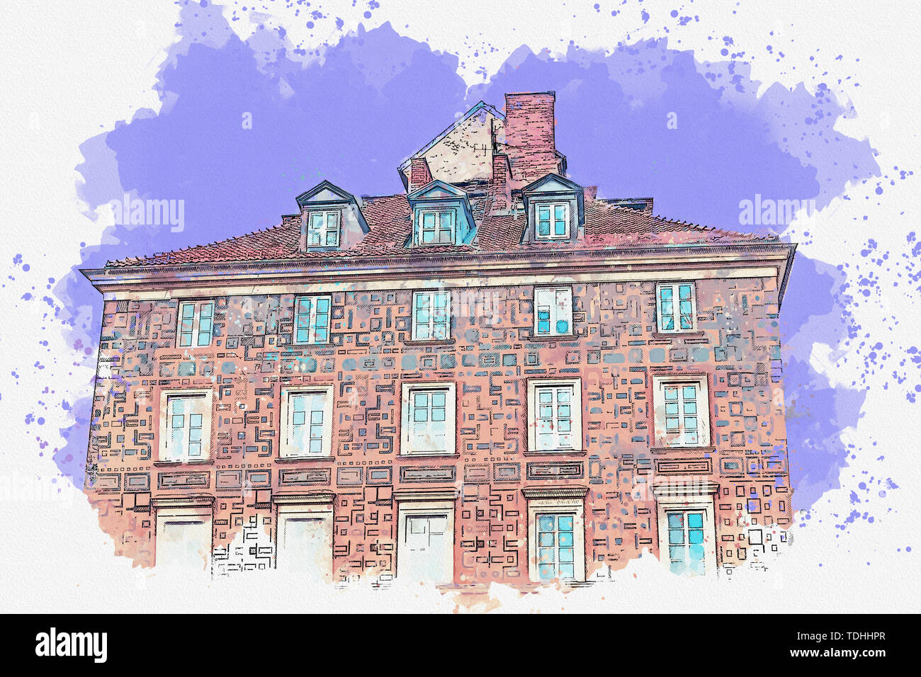 Watercolor sketch or illustration of a beautiful view of a European old apartment building. - Stock Image