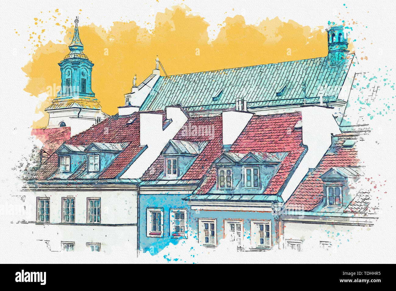 Watercolor sketch or illustration of a beautiful view of European old apartment buildings - Stock Image