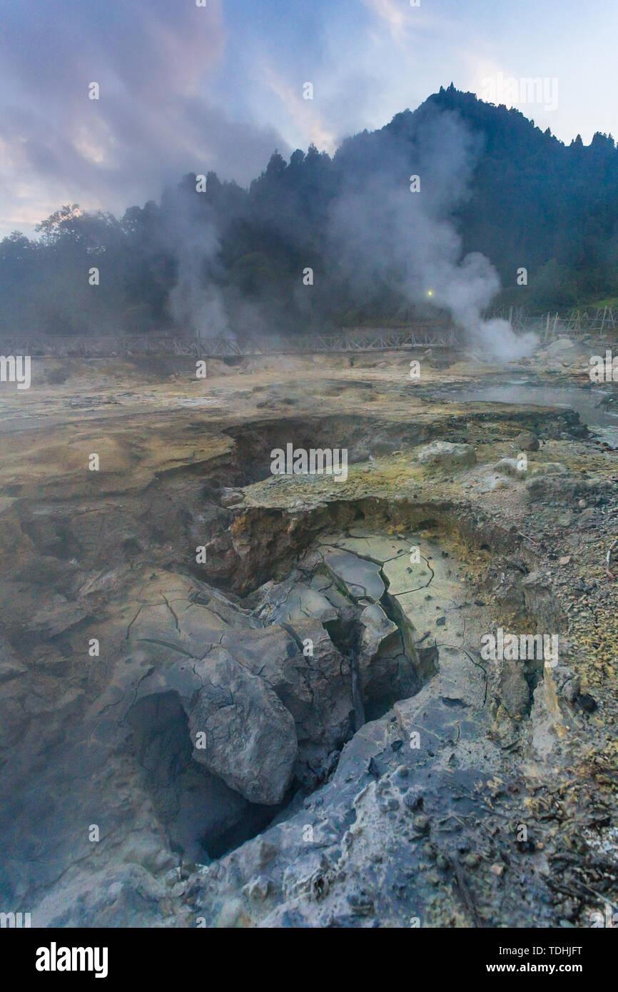 Portugal, Azores, Sao Miguel Island, Furnas, Lago das Furnas lake, lakeside caldeiras, volcanic activity - Stock Image
