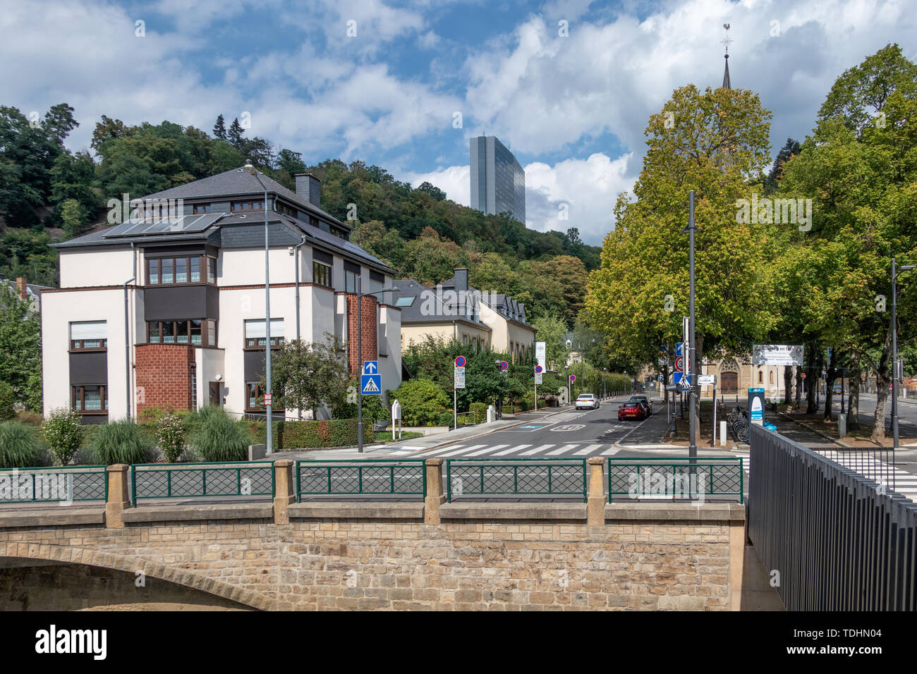 Luxembourg city along river Grund with European office building - Stock Image