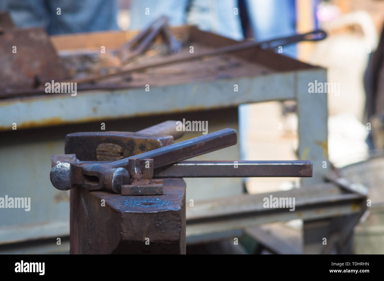 blacksmith tools and fixtures for hand forged metal, close-up Stock