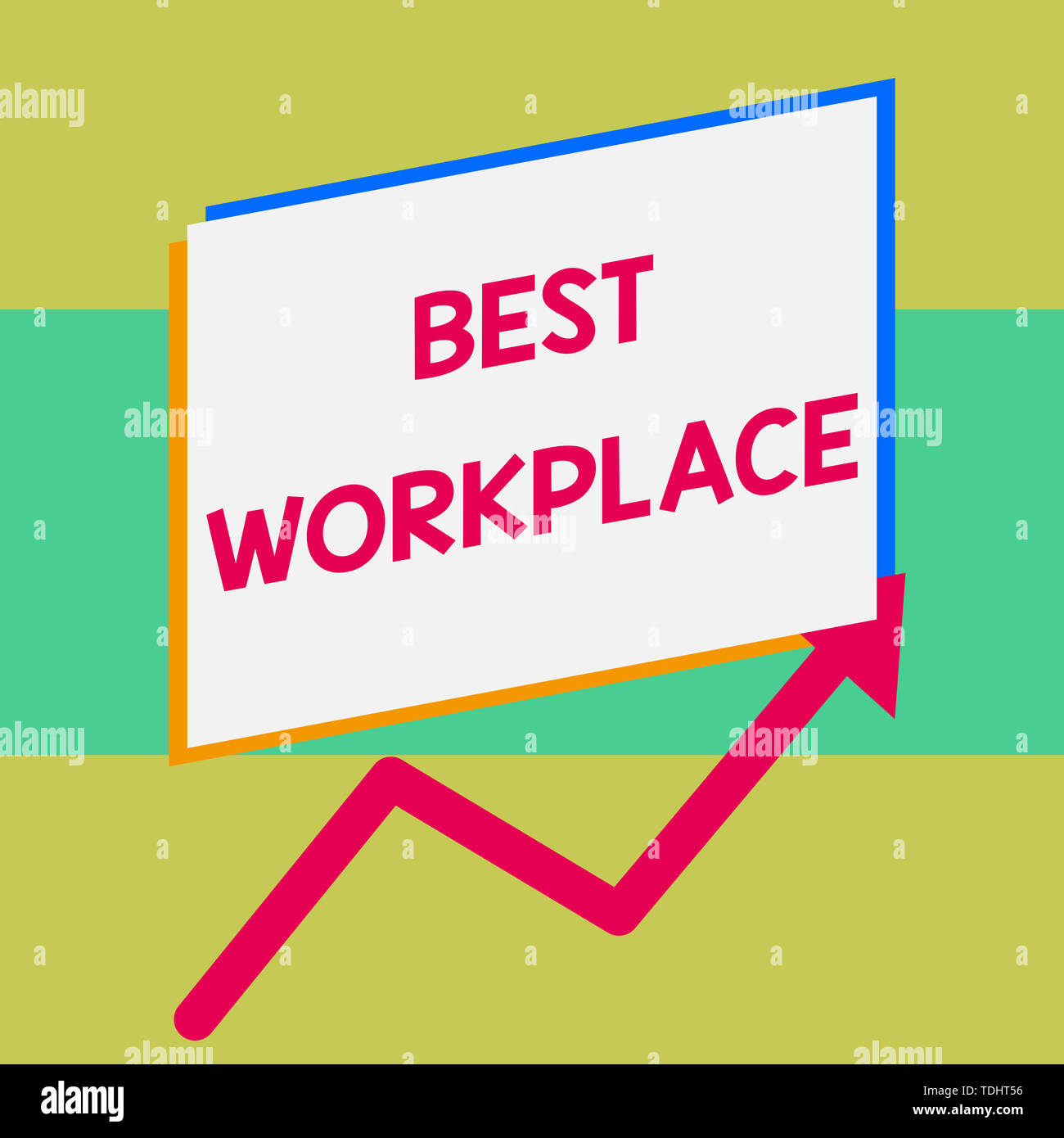 Handwriting text writing Best Workplace. Conceptual photo Ideal company to work with High compensation Stress free One blank rectangle above another a - Stock Image