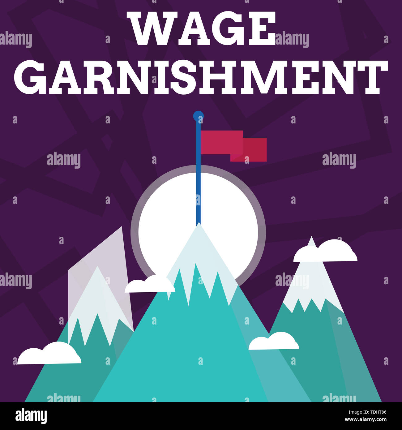 Handwriting text writing Wage Garnishment. Conceptual photo Deducting money from compensation ordered by the court Three High Mountains with Snow and  - Stock Image
