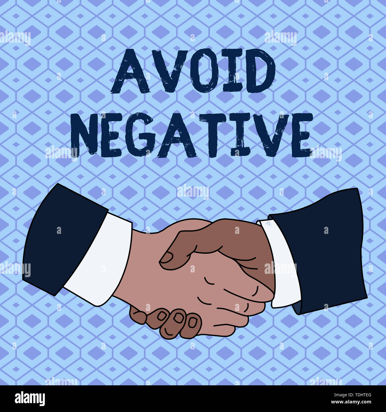 Handwriting text Avoid Negative. Conceptual photo Staying away from pessimistic showing Suspicious Depression Hand Shake Multiracial Male Business Par - Stock Image