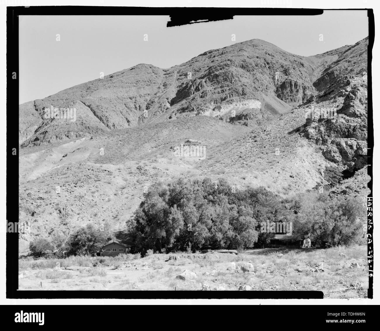 OVERALL VIEW OF WARM SPRINGS CAMP, LOOKING SOUTHEAST. - Gold Hill Mill, Warm Spring Canyon Road, Death Valley Junction, Inyo County, CA - Stock Image
