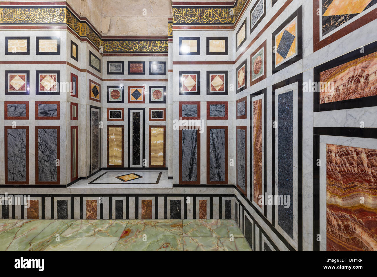 Decorated marble wall and marble tiled floor at al Refai Mosque, Cairo, Egypt - Stock Image