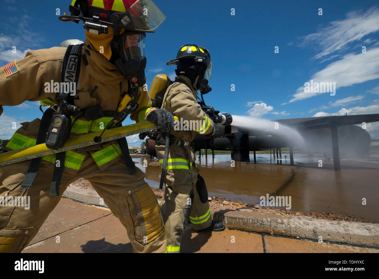 U S  Army firefighters with the 216th and the 451st Engineer