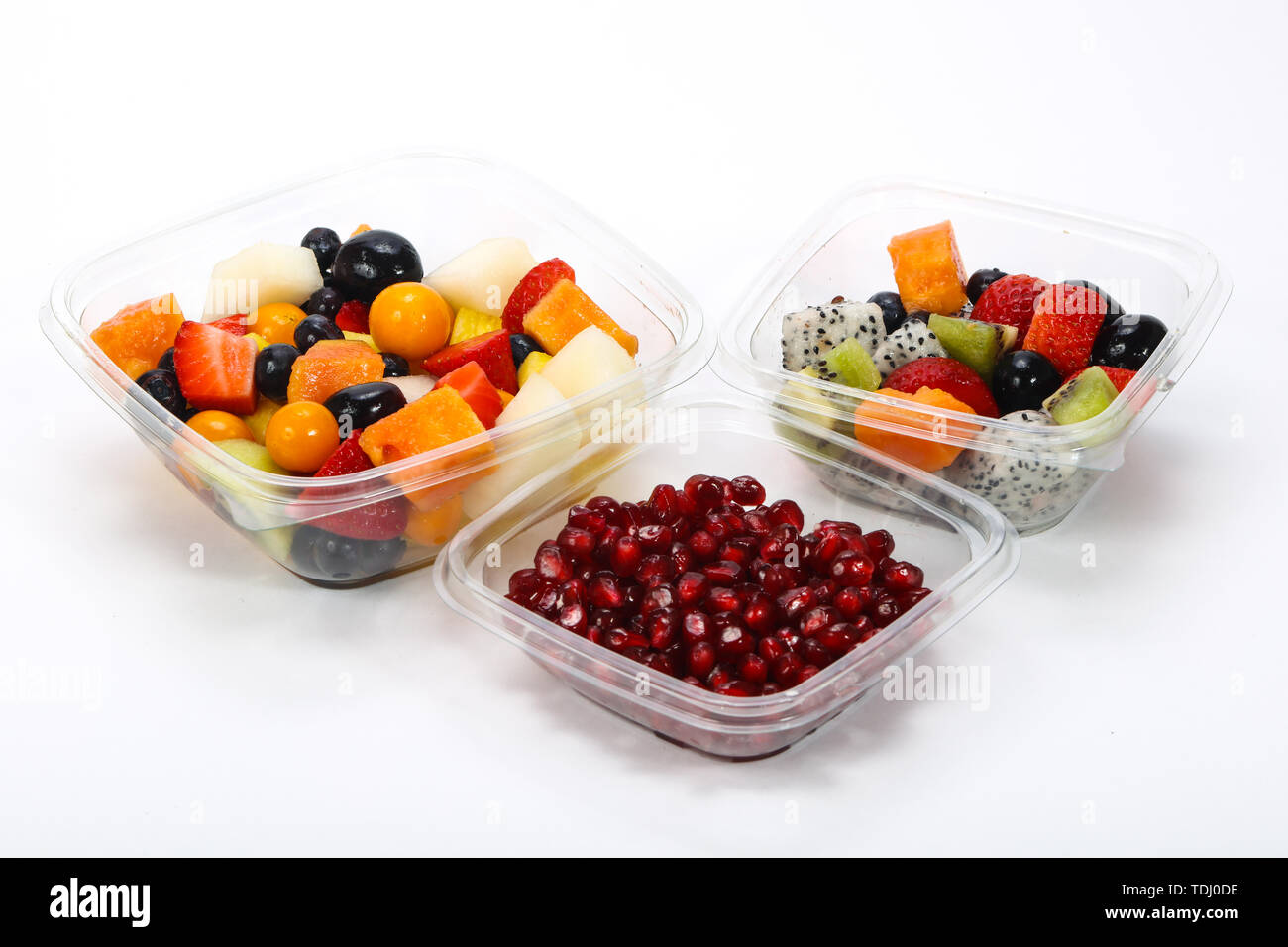 Sliced tropical fruit mix snack in the box - Stock Image