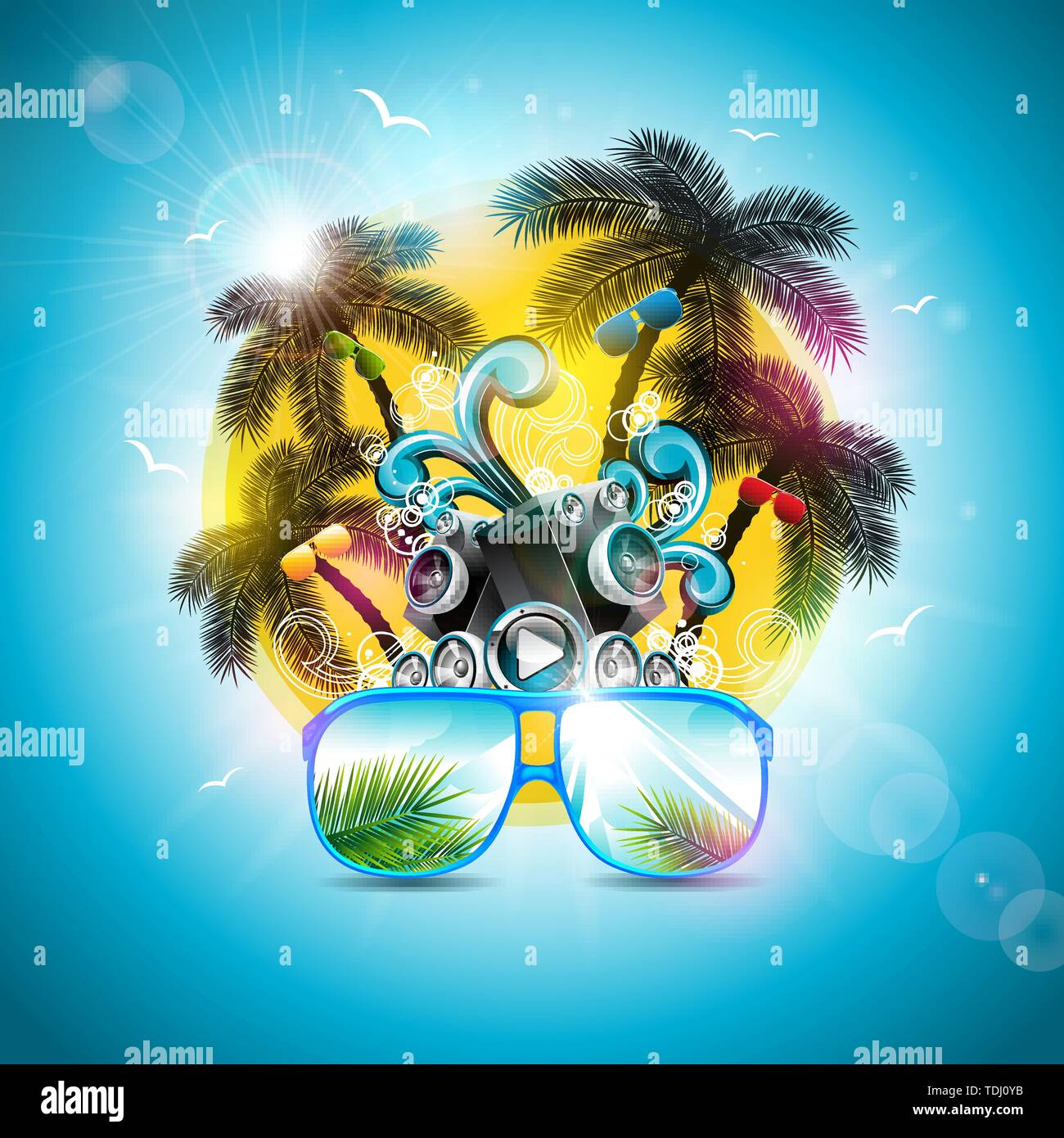 ecbc5e130 Summer Holiday Design with Speaker and Sunglasses on Blue Background.  Vector Illustration with Tropical Palm