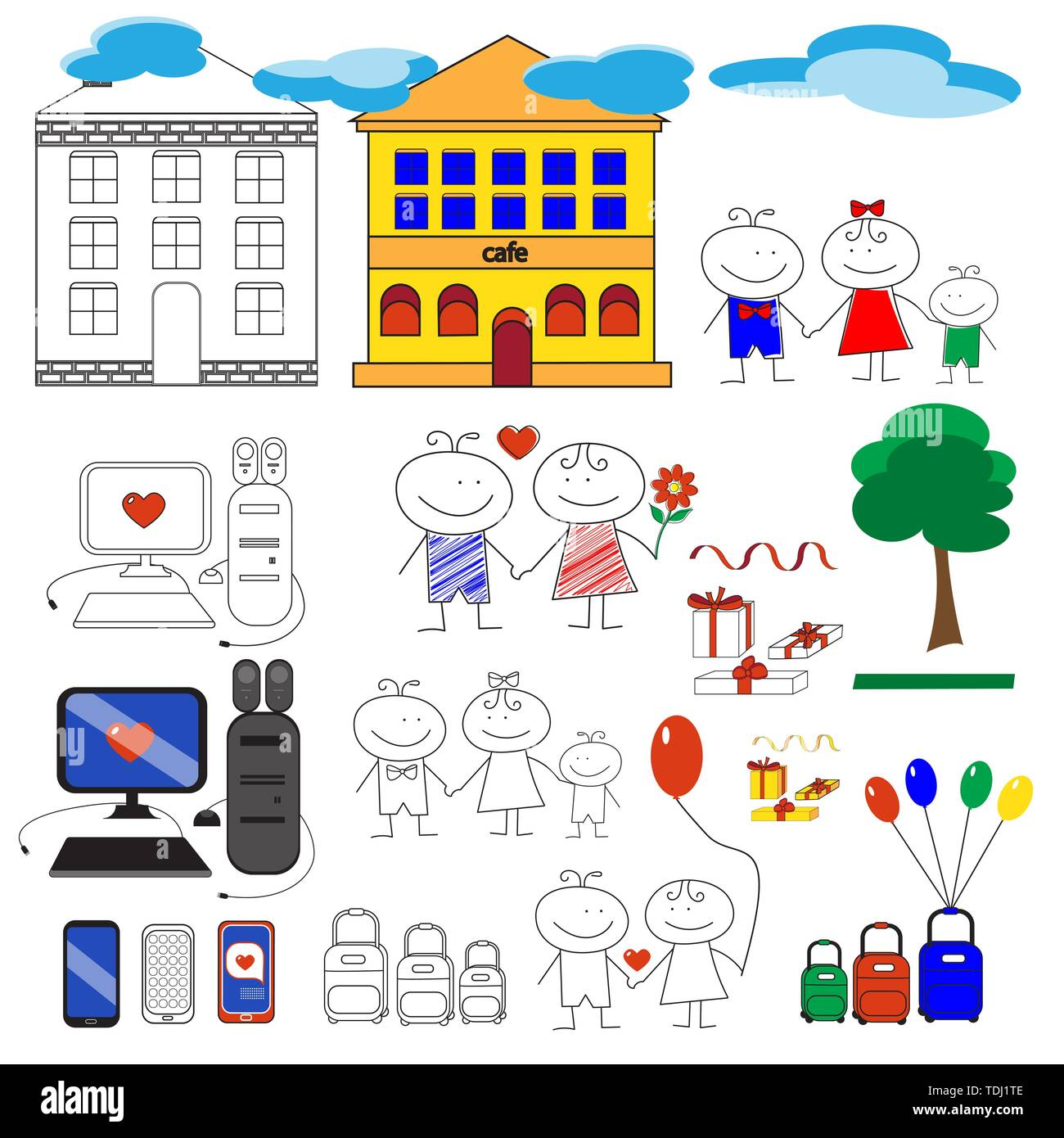 Vector set of love related objects - Stock Image