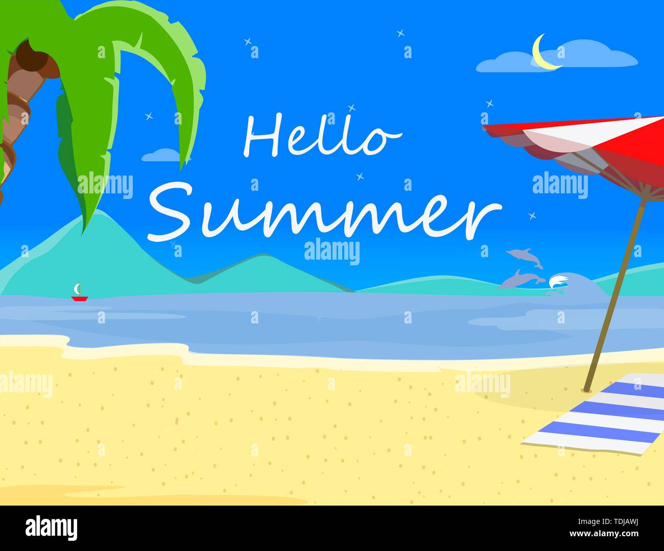 Beach Background with Hello Summer Typography and Sand Shore, Hawaii Night Time Landscape of Exotic Seaside, Thailand Resort Seascape Poster, Beach Pa Stock Vector