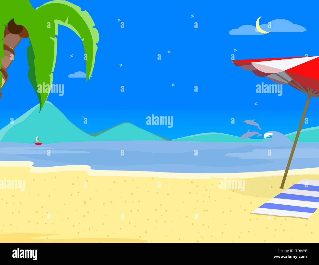 Summer Beach Background, Night Time Landscape of Exotic Seaside at Nighttime, Resort Coast Seascape with Palm Tree, Dolphins, Sailing Ship and Sandy S Stock Vector