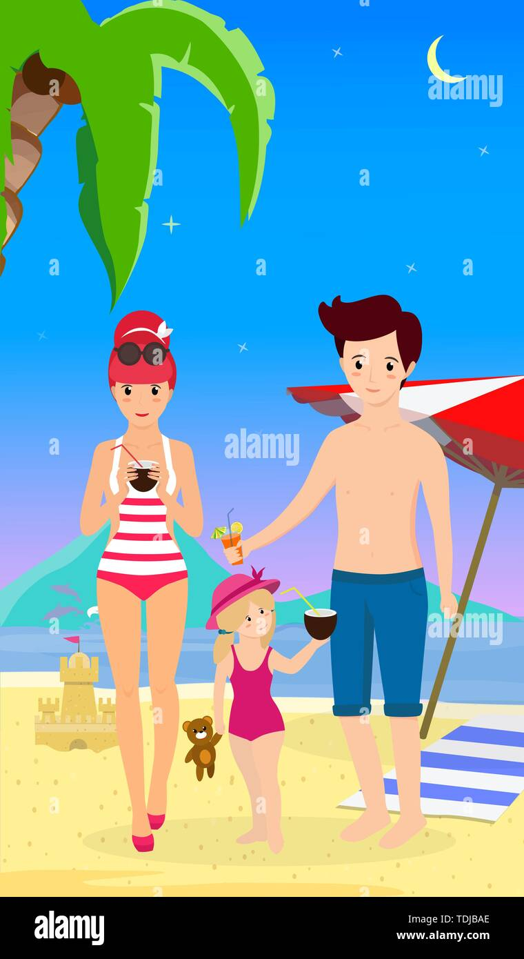 Happy Family at Beach. Smiling Mother Father with Child Stand on Sand Enjoy Cocktails on Seaside Background with Dolphins, Palm, Umbrella and Sand Cas - Stock Vector
