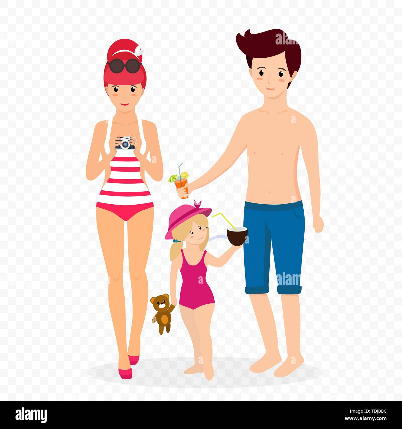 Happy Family at Beach. Smiling Mother in Swim Suit with Photo Camera, Father with Cocktail Child Girl with Toy and Coconut Isolated on Transparent Bac - Stock Vector