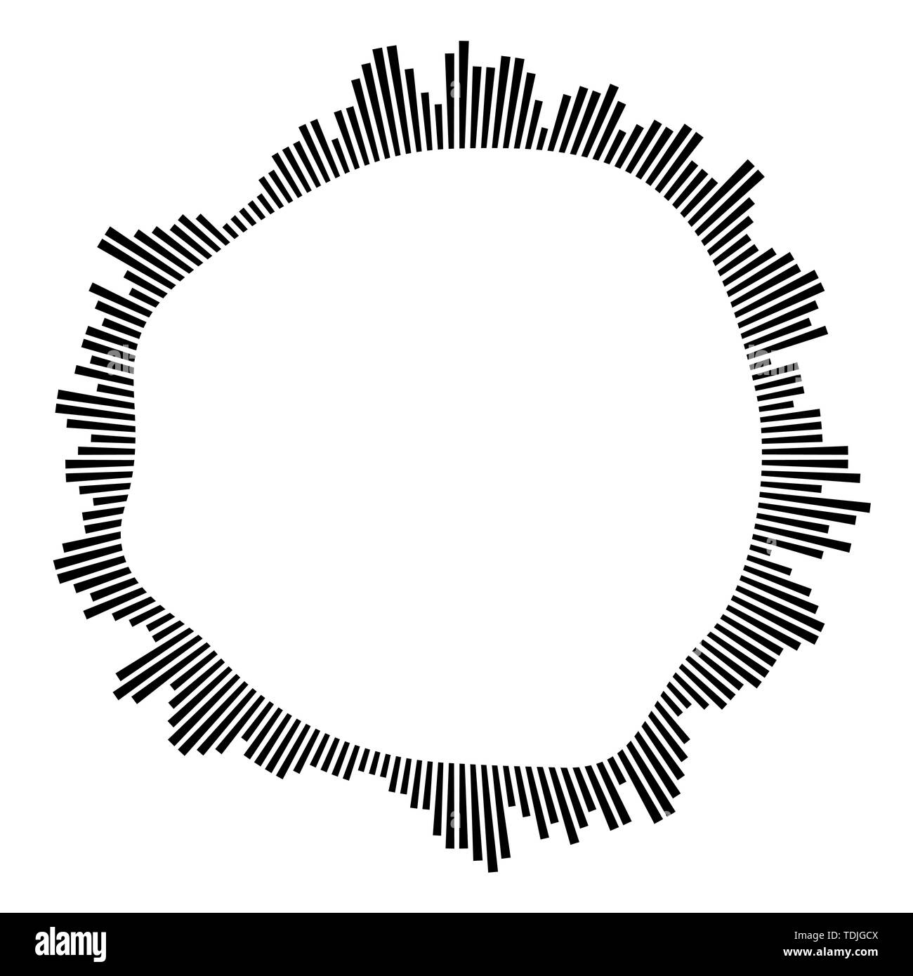 Black circular frame on white background. Round shape. Radial black concentric particles. Black ring of short thin rays. Sound wave. Sun ray or star b Stock Vector