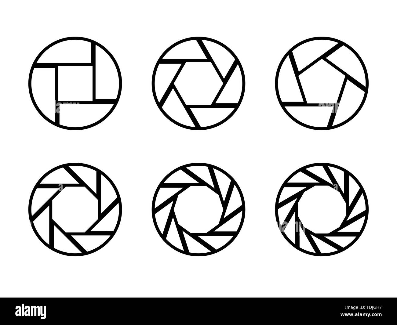 Set of black camera lens aperture icons isolated on light background. Camera objective icon. Shutter icon. Focus icon. Zoom objective for photographer - Stock Image