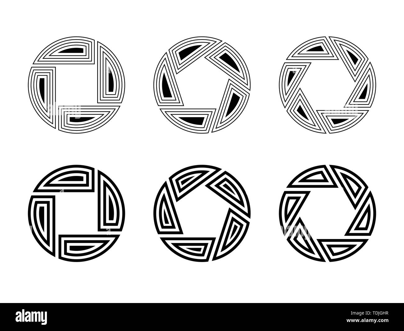 Set of six abstract circular ornaments isolated on white