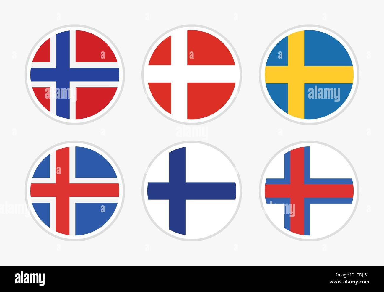 Flags of Northern Europe, Scandinavia, Set of vector round icon illustration on white background. - Stock Image