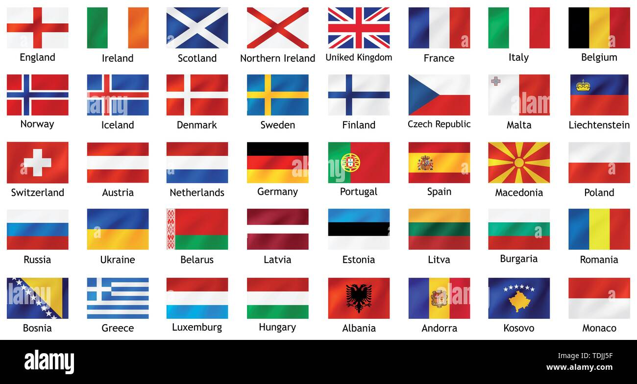 National flags of european countries with captions. - Stock Image