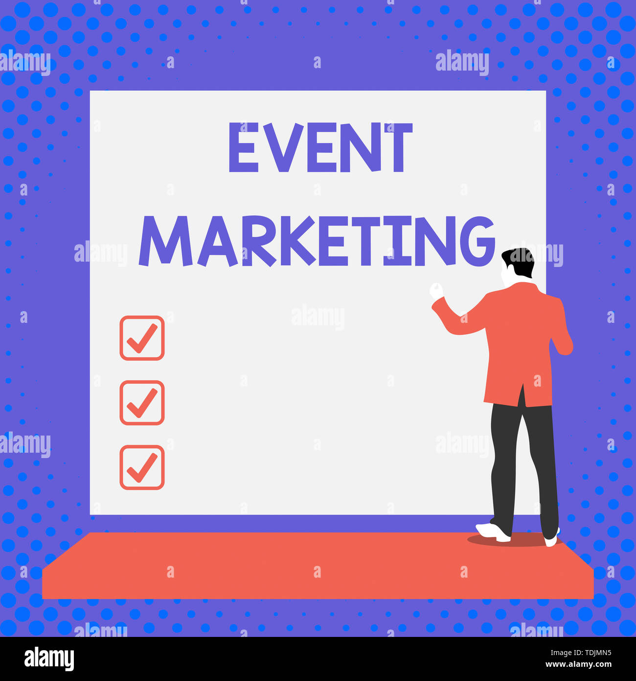 Text sign showing Event Marketing. Business photo text describes process of developing display to promote product Back view young man dressed suit sta - Stock Image