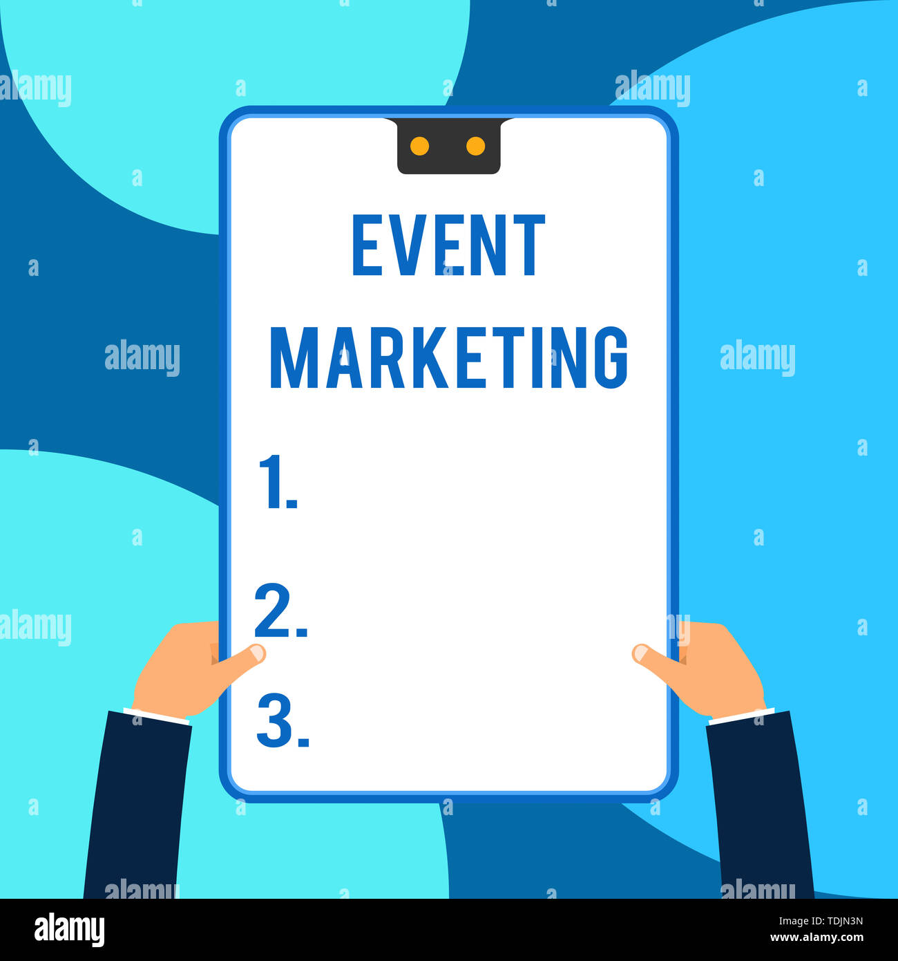 Conceptual hand writing showing Event Marketing. Concept meaning describes process of developing display to promote product Male hands holding electro Stock Photo