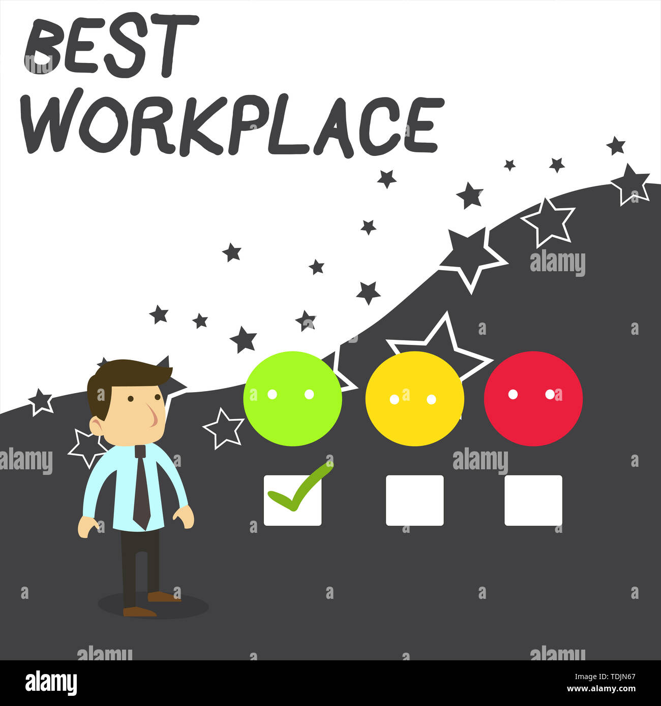Text sign showing Best Workplace. Business photo text Ideal company to work with High compensation Stress free White Male Questionnaire Survey Choice  - Stock Image
