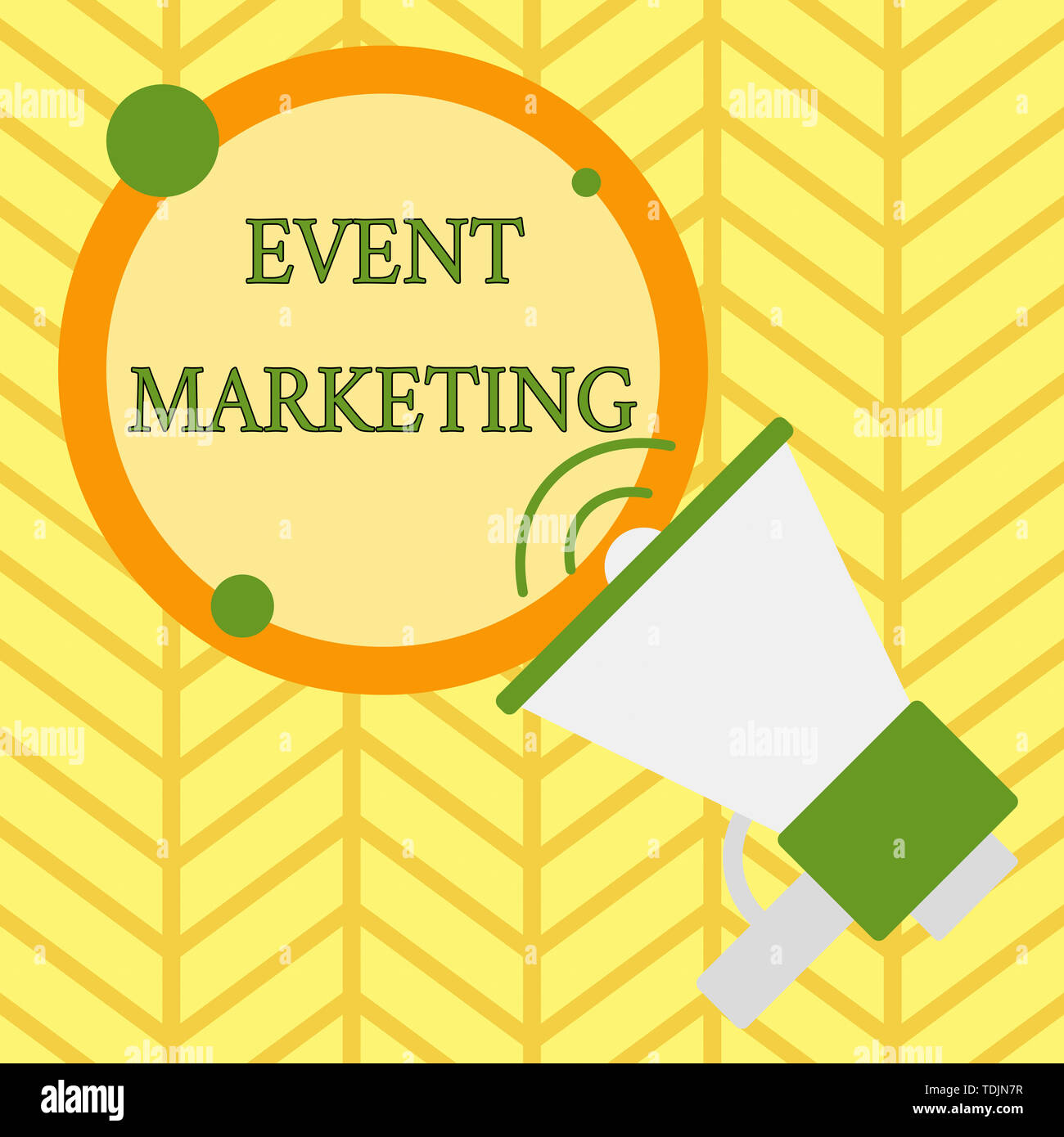 Handwriting text writing Event Marketing. Conceptual photo describes process of developing display to promote product SpeakingTrumpet Empty Round Stro - Stock Image