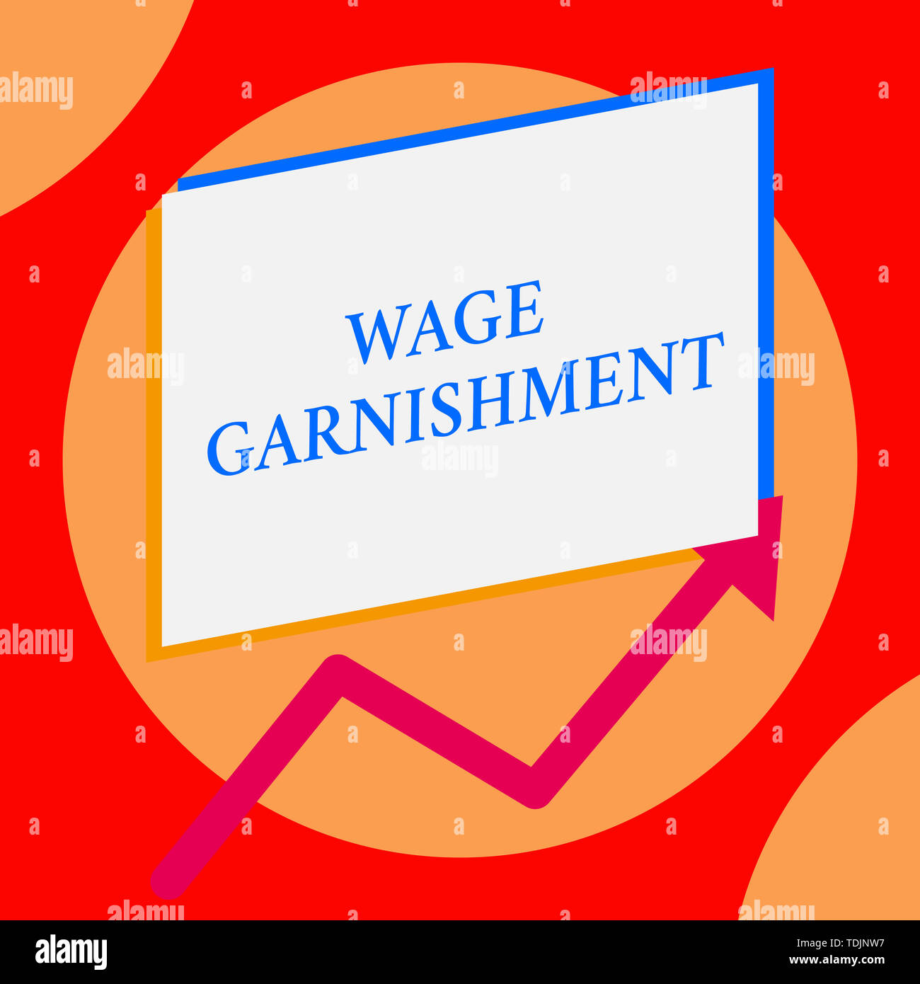 Writing note showing Wage Garnishment. Business concept for Deducting money from compensation ordered by the court One blank rectangle above another a - Stock Image