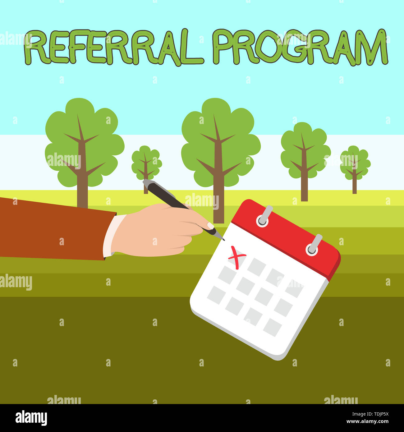 Word writing text Referral Program. Business photo showcasing sending own patient to another physician for treatment Male Hand Formal Suit Crosses Off - Stock Image